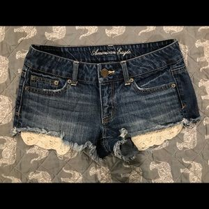 American Eagle shorts with peekaboo lace pockets